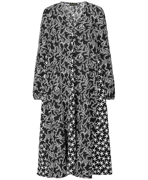 Stine Goya - Leila Black & White Snakes Print Dress - Studio B Fashion