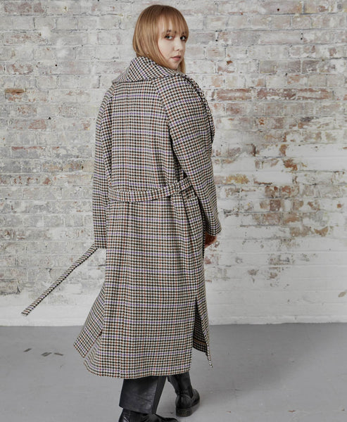 Gestuz - Welle Check Tie Belt Wrap Coat - Studio B Fashion