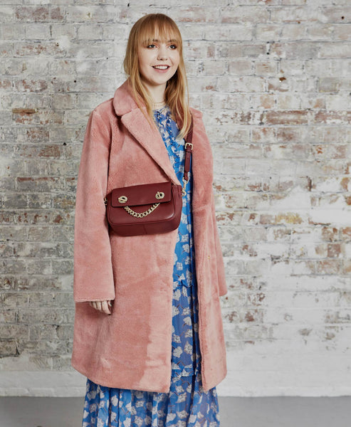 Stine Goya - Concord Faux Fur Coat Rosette Pink - Studio B Fashion