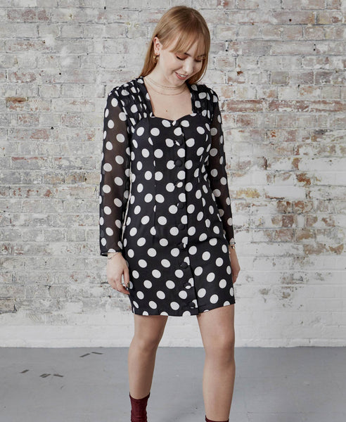 Rixo London - Julianne Black Maxi Spot Mini Dress - Studio B Fashion - Rixo Julianne Mono Maxi Spot Button Front Mini Dress