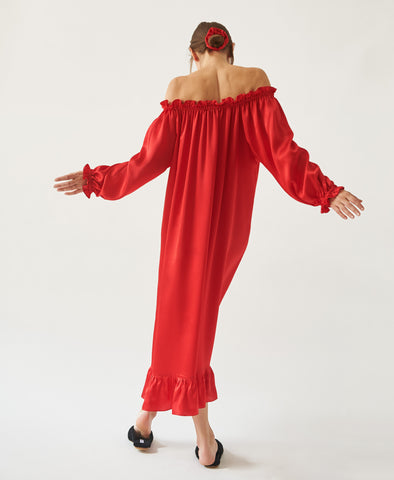 Sleeper Scarlet Red Silk Loungewear Dress