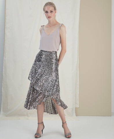 Gloria Silver Sequin Ruffle Skirt