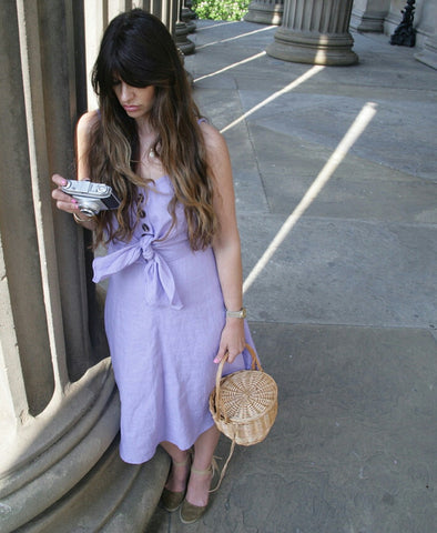 Siena Lilac Front Tie Linen Dress