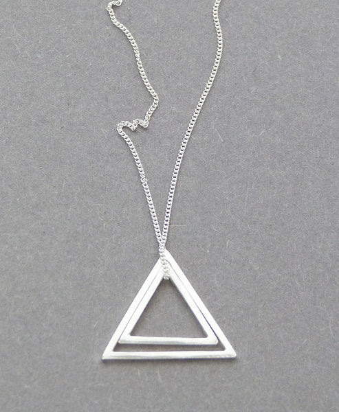 Elin Horgan - Handcrafted Modern Minimal Jewellery - Studio B Fashion - Double Triangle Silver Necklace