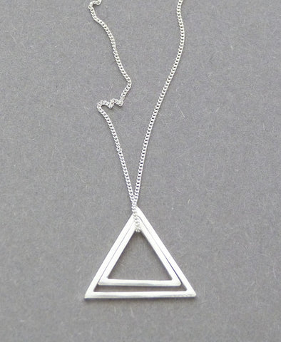 DOUBLE TRIANGLE SILVER NECKLACE