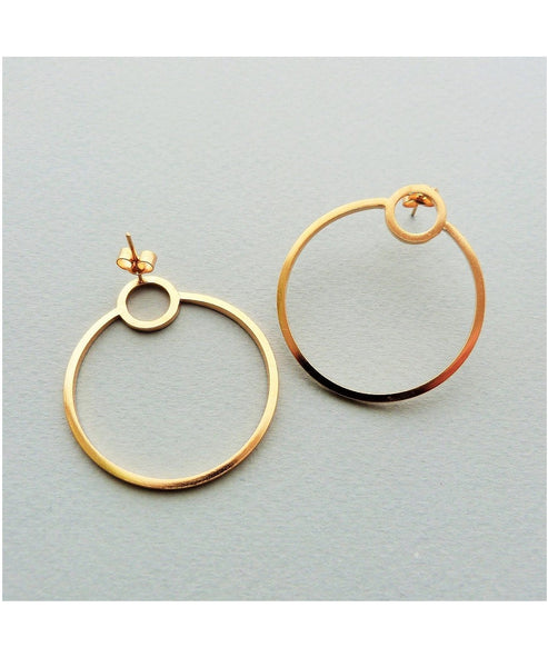 Elin Horgan single orbit gold hoops - Studio B Fashion