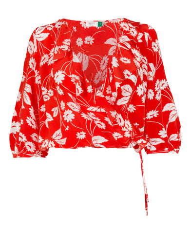 Sofia Abstract Daisy Red Frill Wrap Top