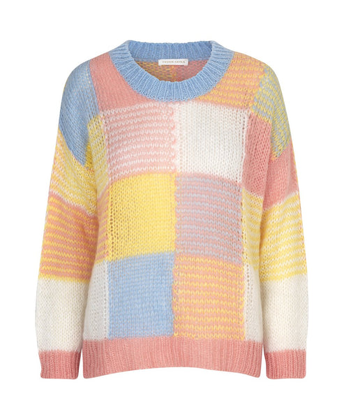 Stine Goya. Sana Loose Knit Sweater Gingham Pastel. Studio B Fashion