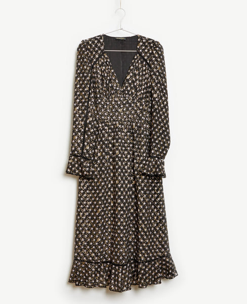 Stine Goya - William Dress Gold Stars Black Print - Studio B Fashion