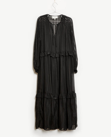 Munthe Homework Black Sheer Stripe Dress