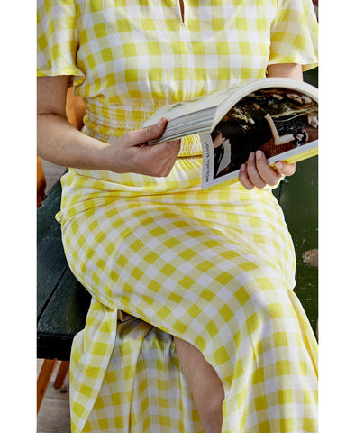 Aberdeen Creamy Lemon Gingham Check Maxi Dress