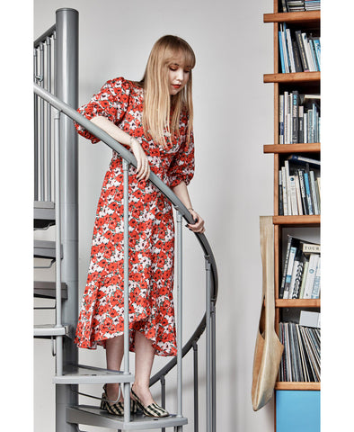 Noleen Red Diana Floral Midi Wrap Dress