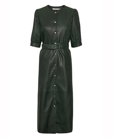 Gestuz Suri Dark Green Leather Midi Dress