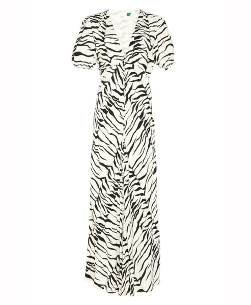 Rixo London -Tonya Mono Tiger Button Down Midi Dress- Studio B Fashion