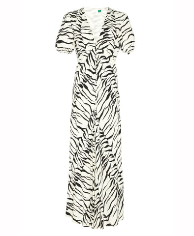 Tonya White Tiger Button Down Midi Dress