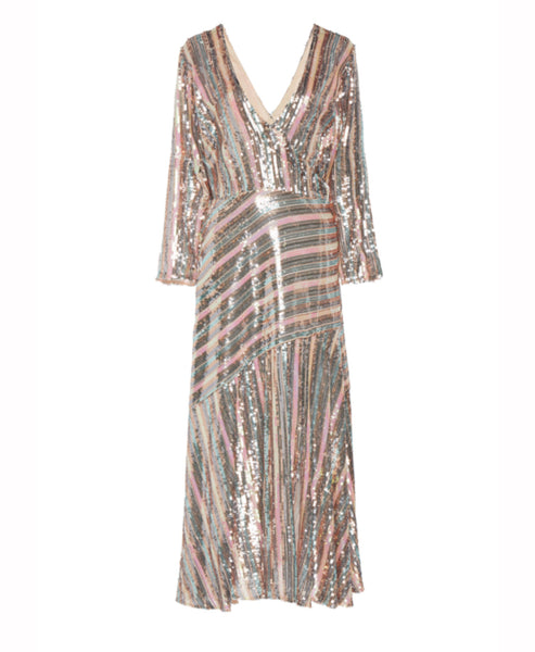 Rixo - Tyra Sequin Stripe Long Sleeve Midi Dress - Studio B Fashion