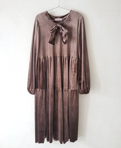 Roma Taupe Velvet Dress
