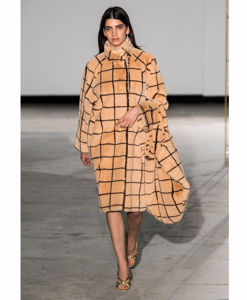 Demetria Camel Check Faux Fur Coat