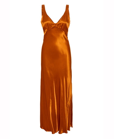 Gestuz Umber Satin Maxi Slip Dress