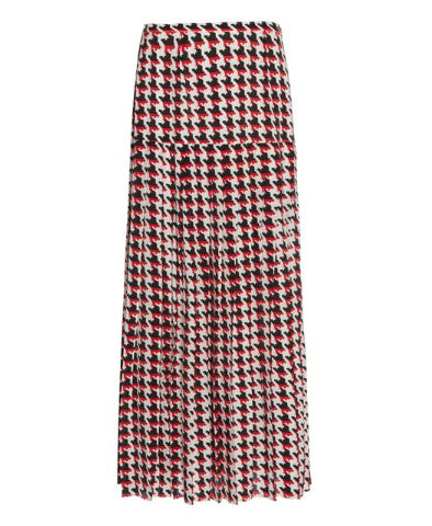 Rixo London - Tina Red Houndstooth Midi Skirt with slit - Studio B Fashion