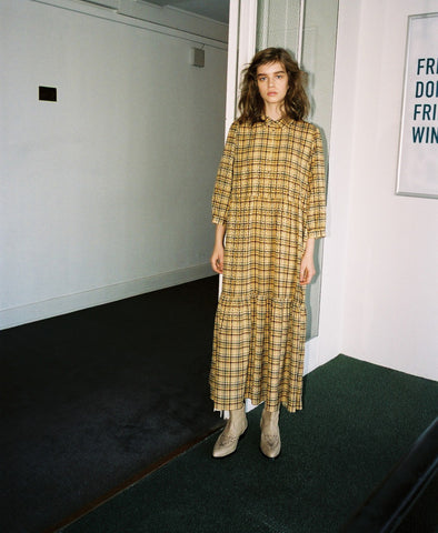Tjekke Oversized Yellow Check Dress