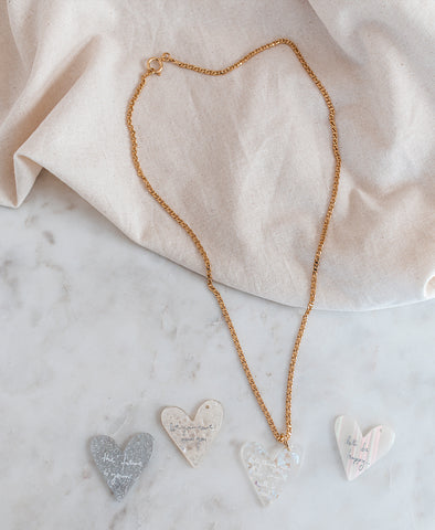 Let's Be Happy Crystal Heart Necklace