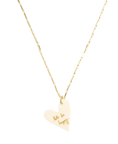 Lets Be Happy White Heart Necklace