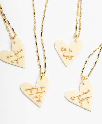 Let Your Heart Guide You White Heart Necklace