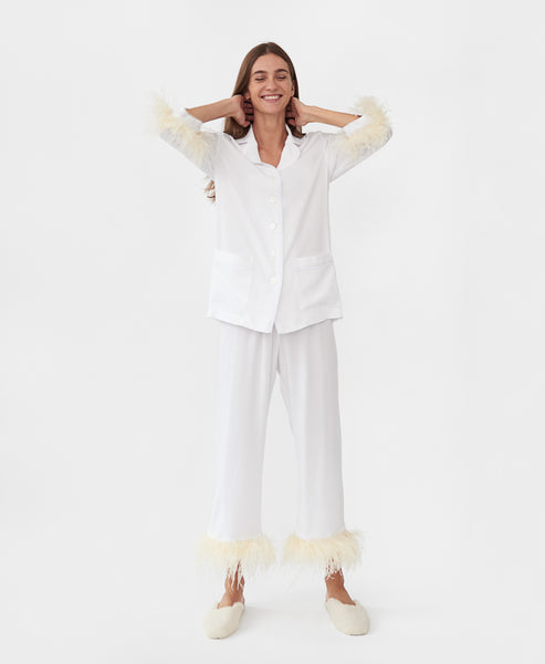 Sleeper Party Pyjama Set with Feathers in White
