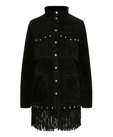 Wica Leather Coat Detachable Fringe