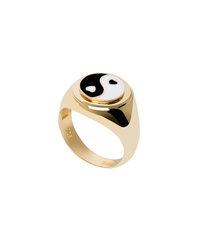 Wilhelmina Garcia Gold Yin Yang Black Ring