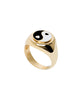 Wilhelmina Garcia - Gold Yin Yang Black Ring - Studio B Fashion