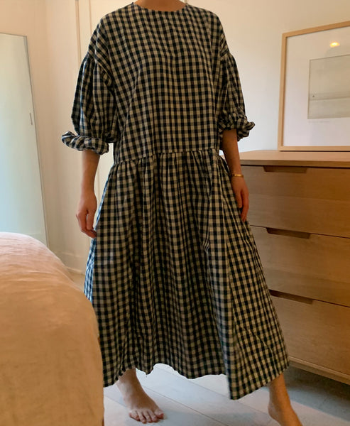 April meets October May Dress Navy Gingham Exclusive