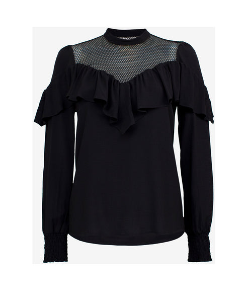 Black Mesh Panel Frill Detail Blouse