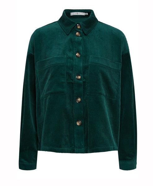 Gestuz - VelvaGZ Rain Forest Green Corduroy Shacket - Studio B Fashion