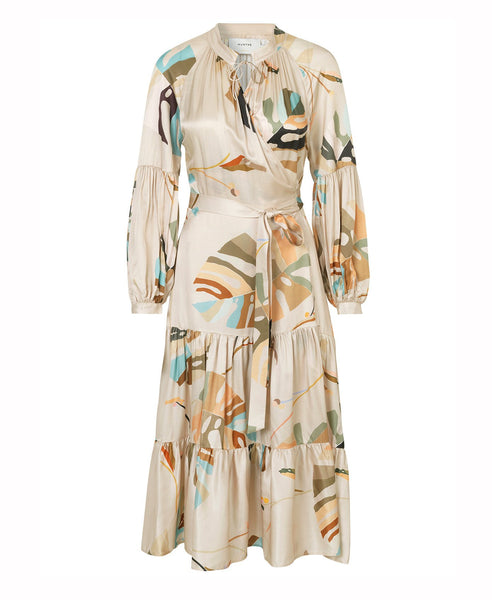 Munthe - Hooligan Beige Print Wrap Dress - Studio B Fashion