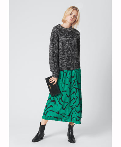 Gestuz Aylin Green Ripple Midi Skirt