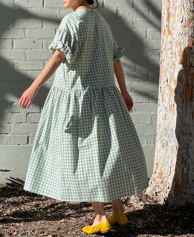 April meets October Summer May Dress Light Sage Gingham