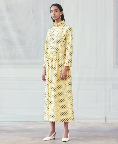 Alitha Lemon Blue Polka Dot Midi Dress
