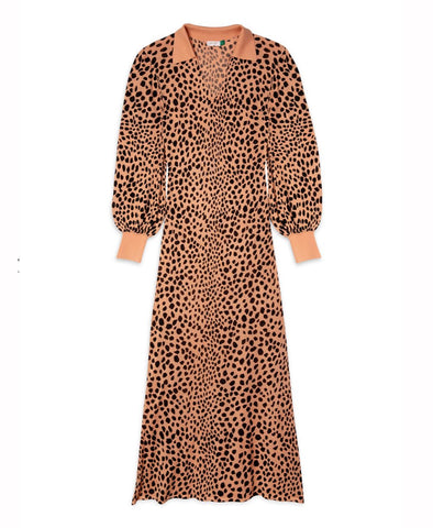 Rixo Piper Camel Leopard Knit Midi Dress
