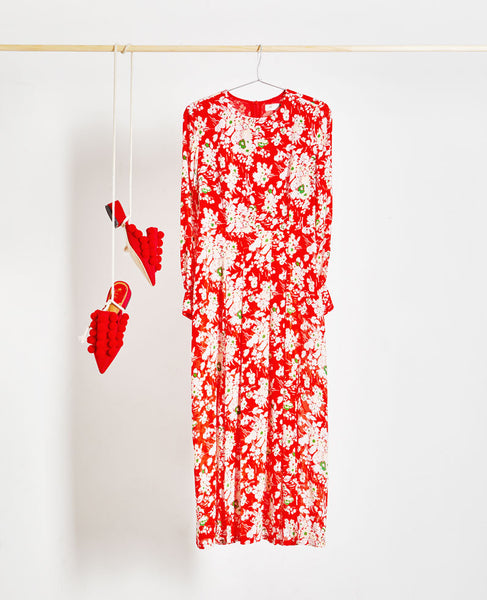 Rixo London - Emma Red 30's Bunch Floral Midi Dress - Studio B Fashion
