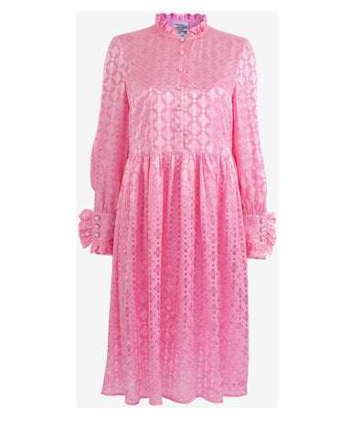 Agacia Ruffle Midi Dress Pink Carnation
