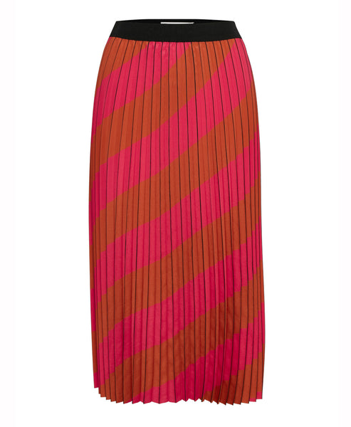 Gestuz - Gestuz Alessia Pink Stripe Pleated Skirt - Studio B Fashion