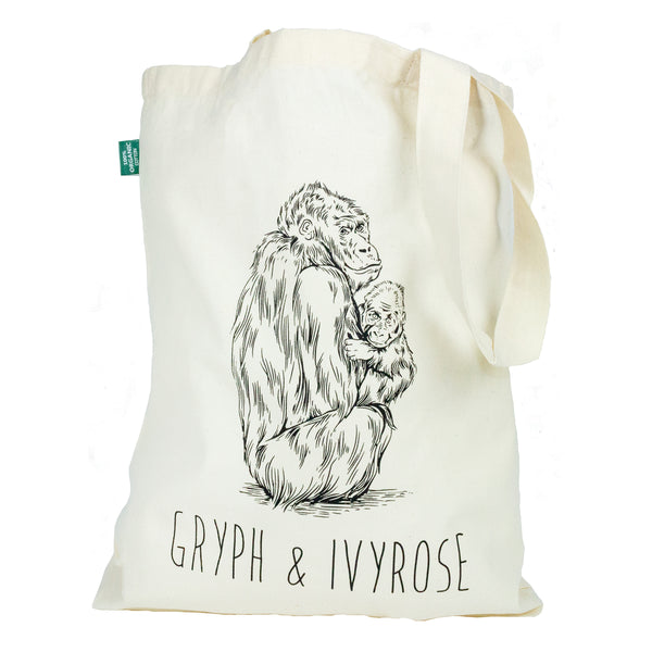 Gryph and Ivyrose Tote bag featuring one of our signature animals