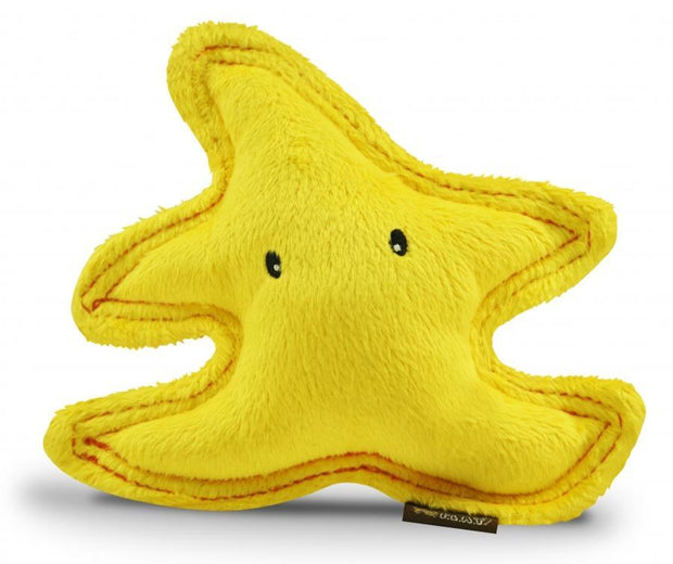 Yellow starfish plush dog toy by P.L.A.Y