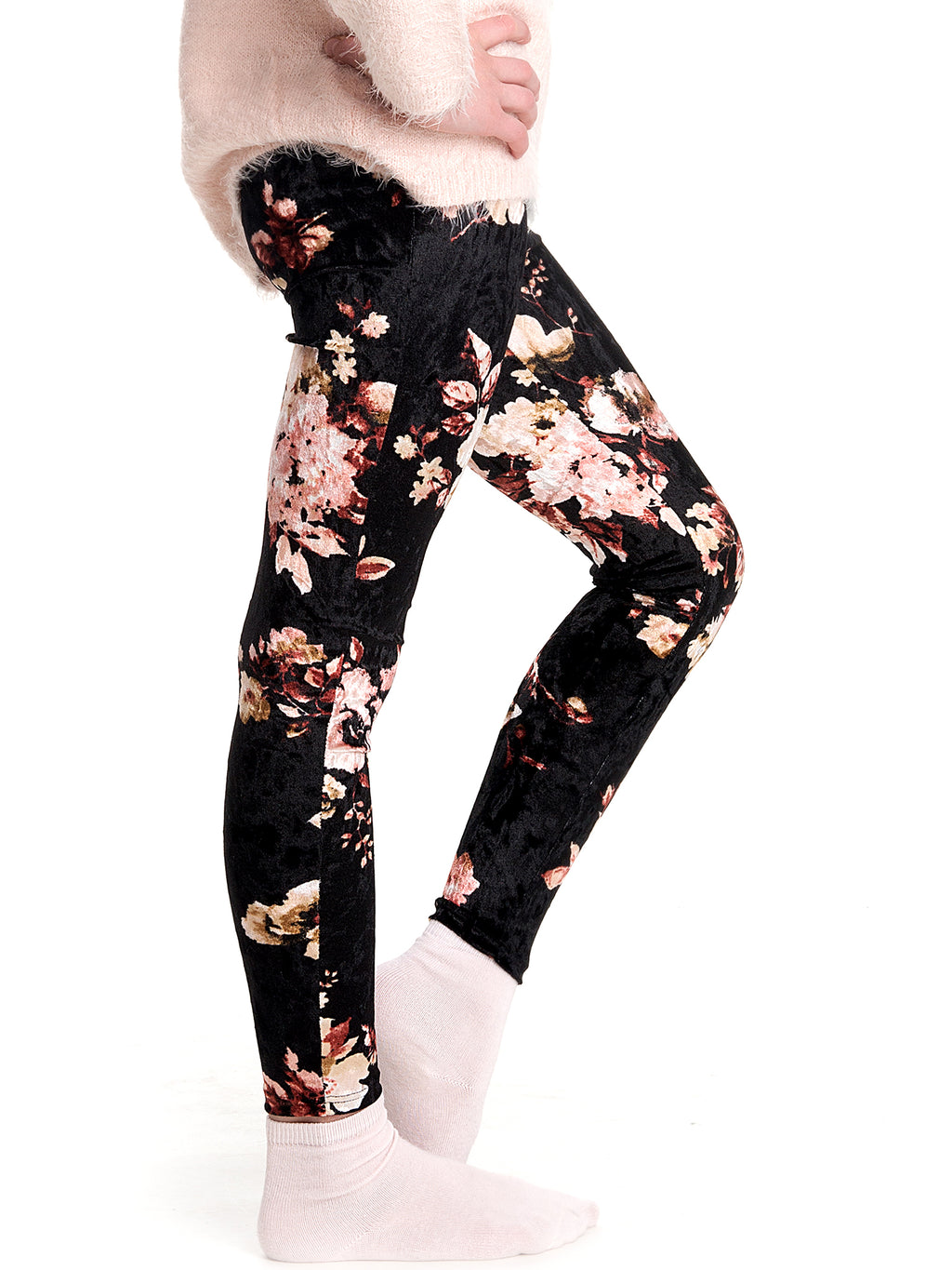 Crushed Velvet Floral Leggings