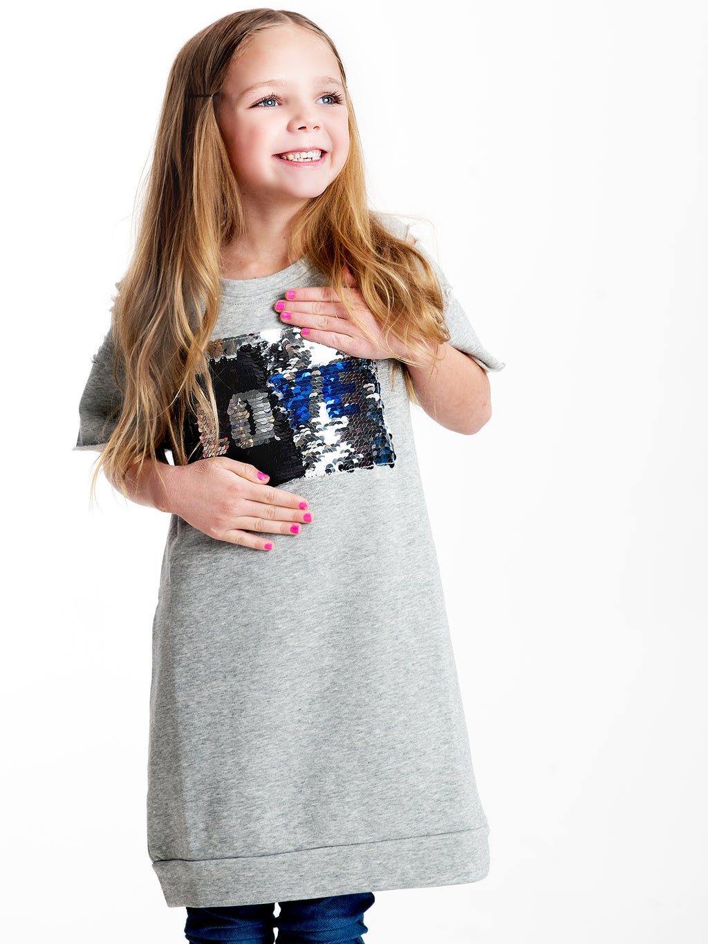 Magic Sequin Sweatshirt Dress Grey