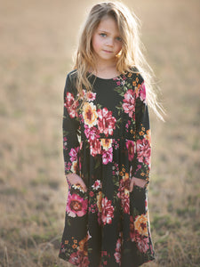 Floral Black Swing Dress with Hidden Pockets | Mommy & Me Sizes Available