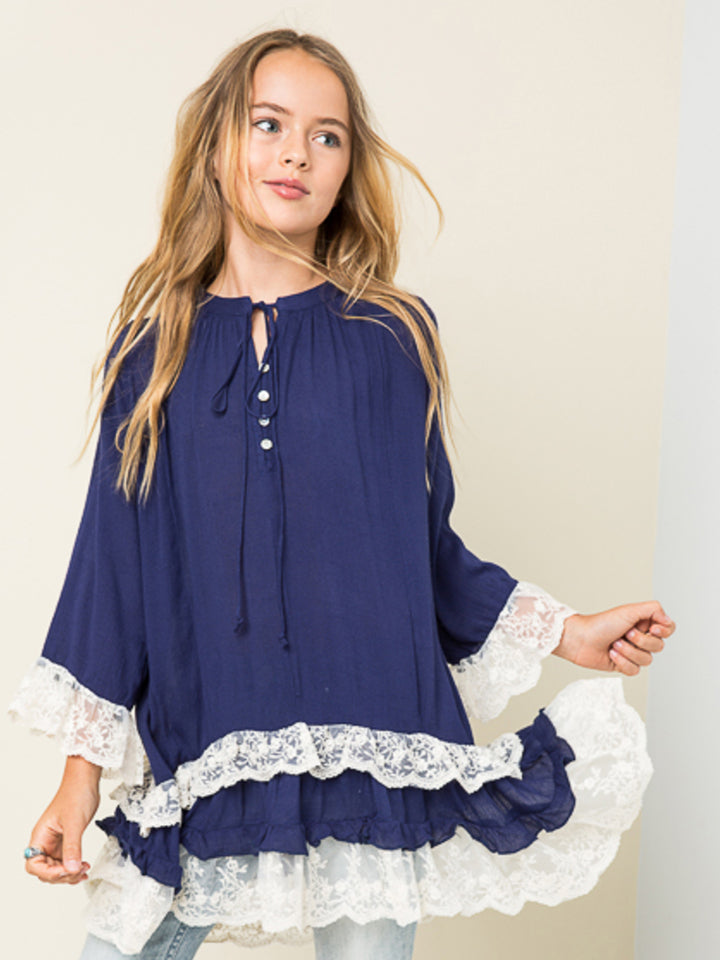 Blue and Lace Tunic Top Dress