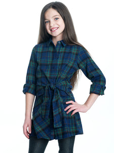 Plaid Button Up Dress with Tie - Blue Mix